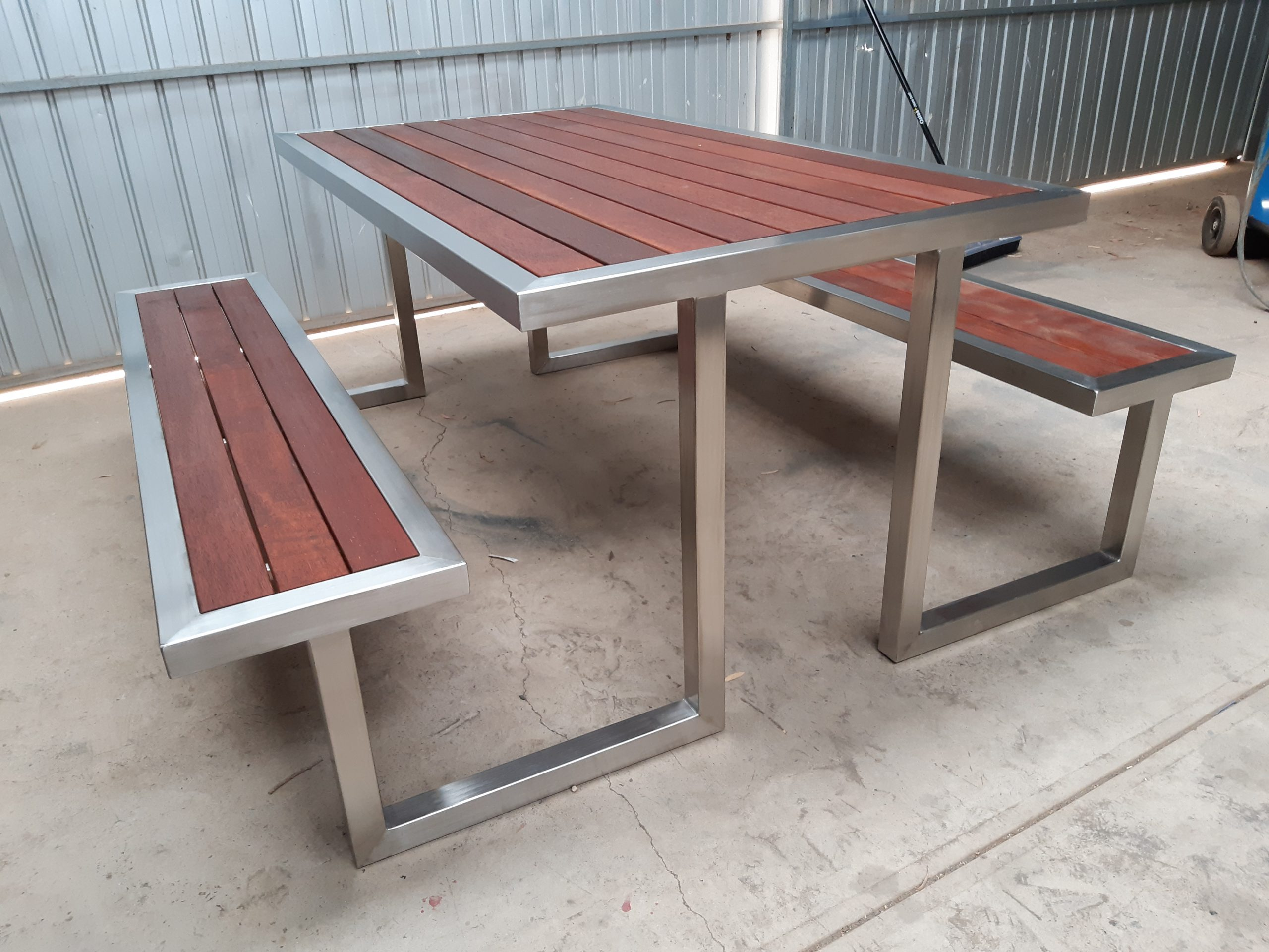 S/S table and attached bench seats